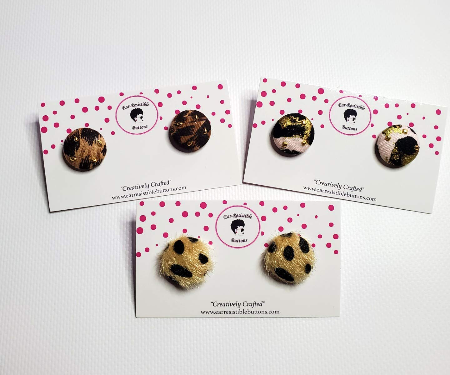 3 pairs Wild Animal Print Covered Button Earrings for Women