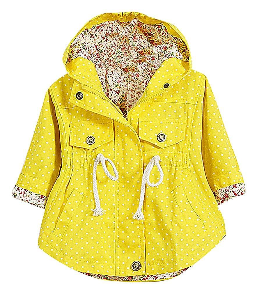 BPrincess Girls Polka Dot Drawcord Waist Rounded Hem Floral Lining Hooded Coat