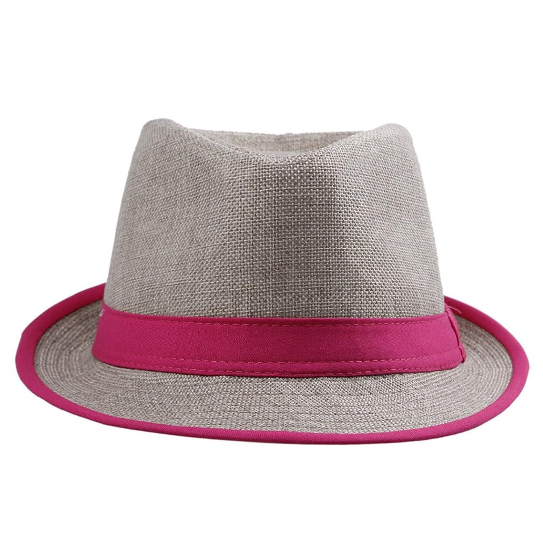 JTC Women Men Cotton Panama Hat Rose Red