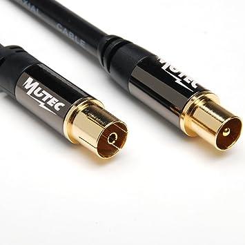 MutecPower 2m de Cable para TV/AV Antena coaxial Macho a Hembra coaxial Pair -