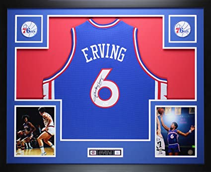 5a7e16d57fb Julius Dr. J Erving Autographed Blue 76ers Jersey - Beautifully Matted and  Framed - Hand Signed By Julius ...