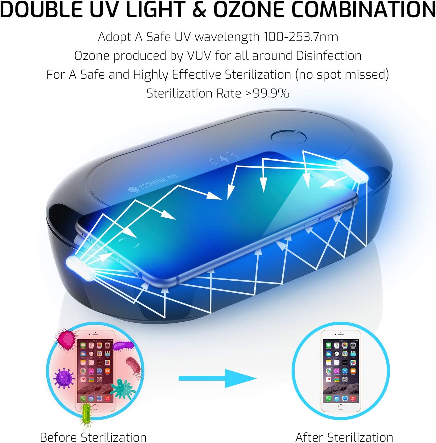 Wireless Charger Aromatherapy Function Quick Sterilizing in 99 or 180 Seconds for Mobile Phone UV Light Sanitizer Disinfectant Box Keys /& Everyday Accessories EssentialPal UV Sterilizer Box