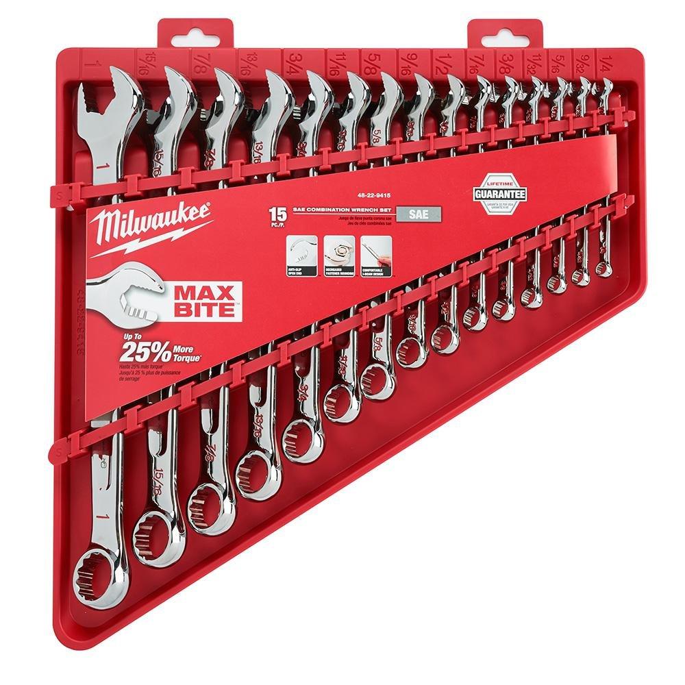color rojo Juego de llaves combinadas 15 piezas Milwaukee MLW48-22-9415 48229415 Max Bite