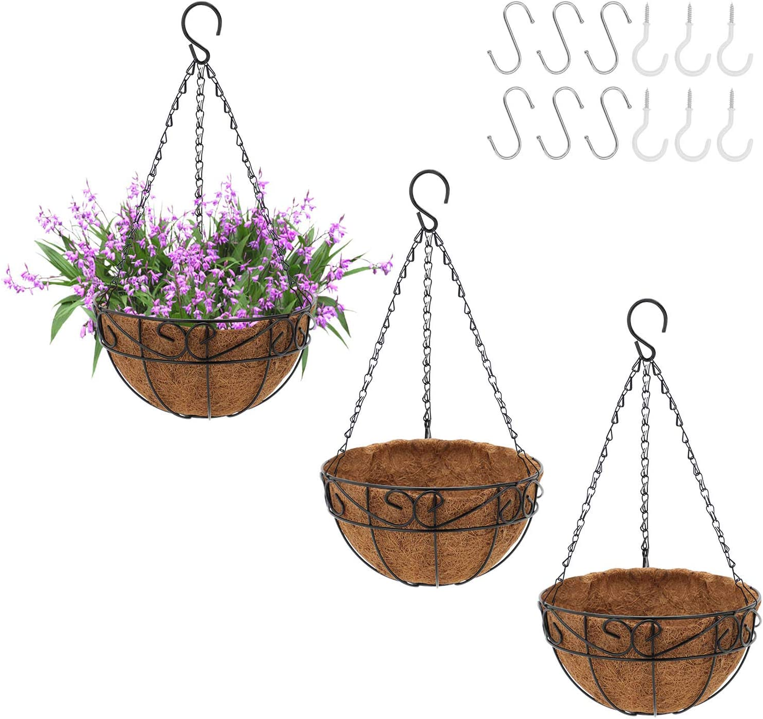 GROWNEER 6 Packs 10 Inches Metal Hanging Planter Basket with Coco Coir Liner, Round Wire Plant Holder with Chain and 12 Pcs Hooks, Hanging Baskets for Garden Patio Porch Balcony Décor