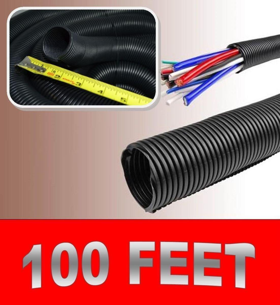 100FT 1.5 BLACK SPLIT LOOM TUBING Wire /& Hose Cover Polyethylene Audio Video