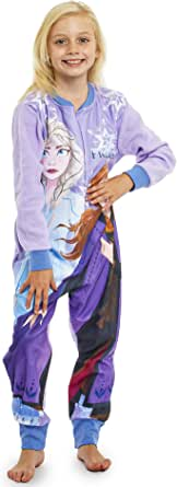 Disney Frozen Pijama Entero para Niñas De Una Pieza, Ropa Niña Invierno con Anna y Elsa El Reino del Hielo (18-24) Meses, Pijamas Enteros Manga Larga Regalos para Niños (2-10 Años)