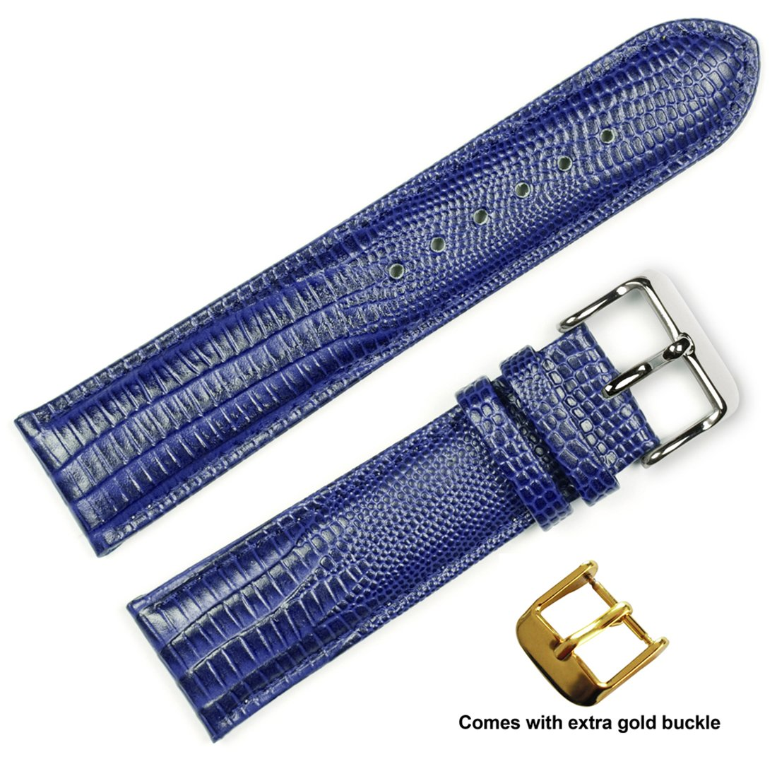 deBeer brand Teju Lizard Grain Watch Band (Silver & Gold Buckle) - Navy 20mm
