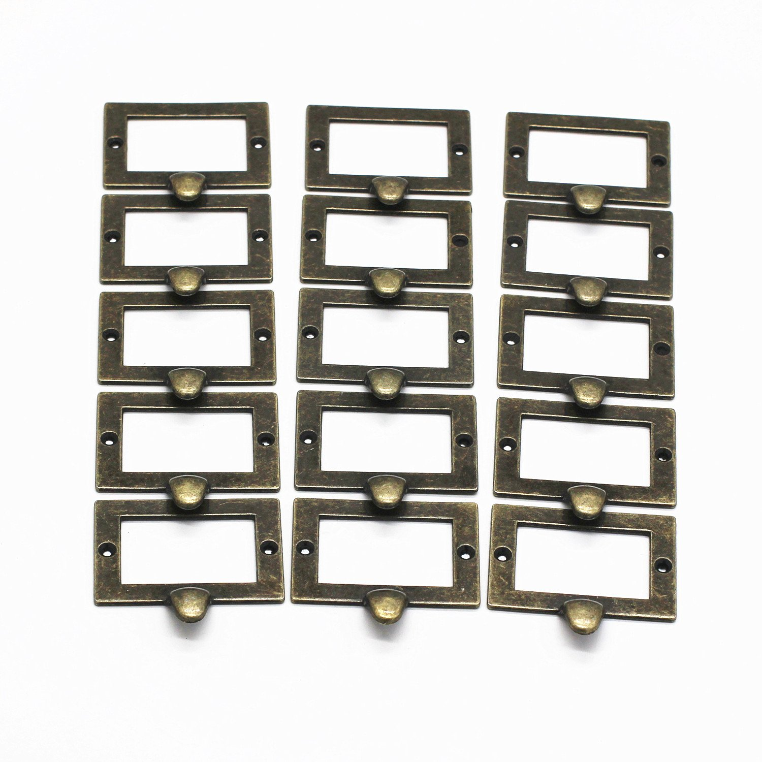 WEICHUAN 15 Pieces 72mm68mm Card Holder Drawer Pull/Label Frames Card/Label Holder/Tag Pull/Cabinet Frame Handle/File Name Card Holder - Metal Art Bronze Tone with screws