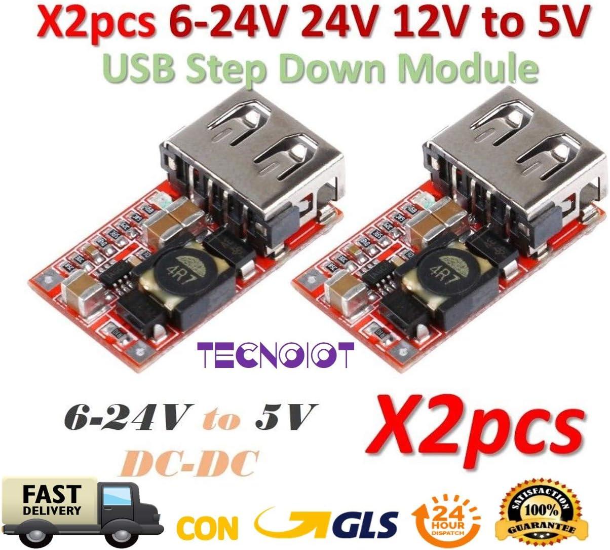 TECNOIOT 2pcs 6-24V 24V 12V to 5V USB Step Down Module DC-DC Converter | 2 Pieces DC-DC Buck Module 6-24V 12V/24V to 5V 3A USB Step Down Power Supply Charger Efficiency 97.5%
