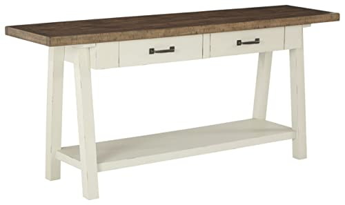 Signature Design by Ashley – Stowbranner Farmhouse Console Table w Storage, White Brown