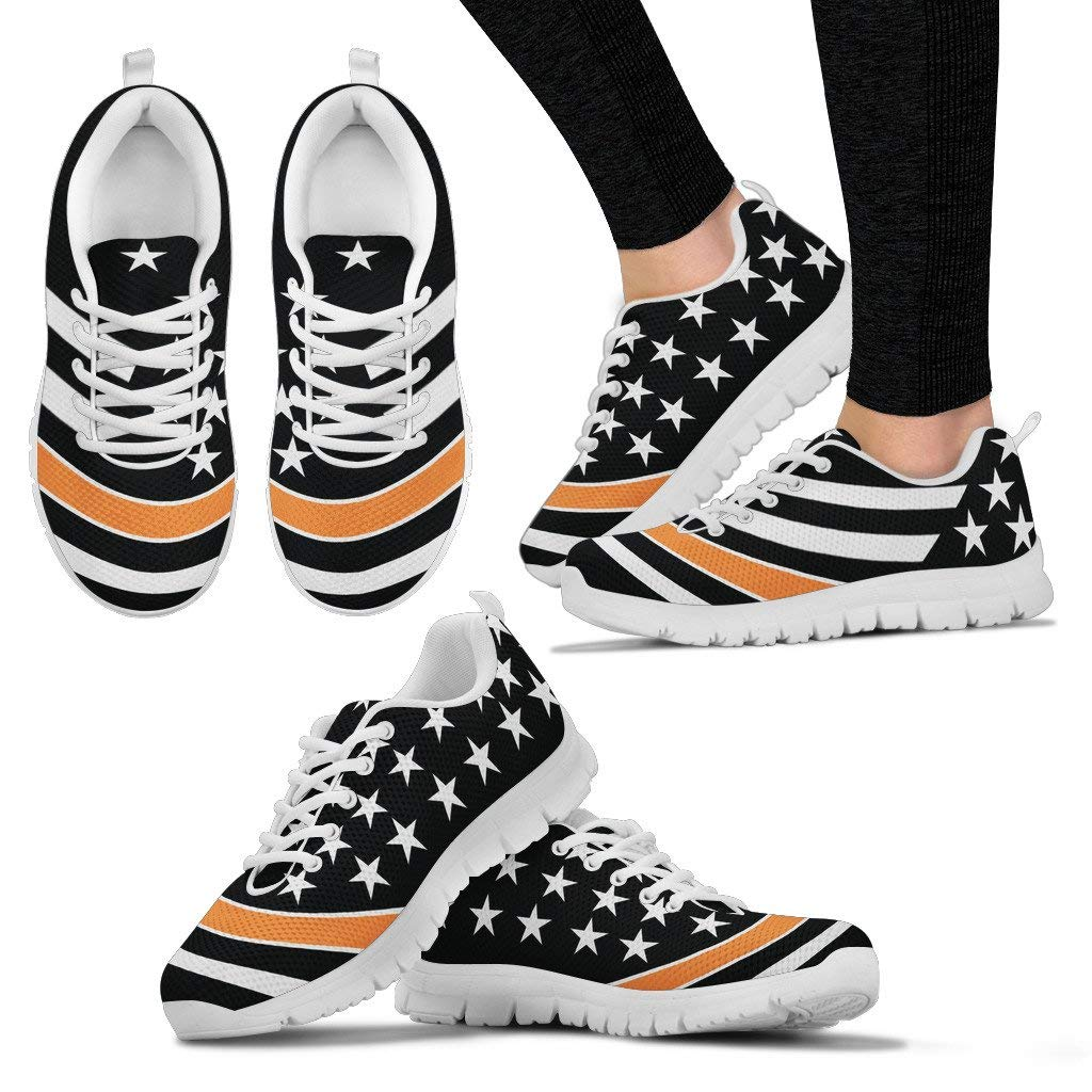 Mens Running Shoes Sneakers Wt Footwear by Chelsydale Thin Orange Line Support Awareness Appreciation