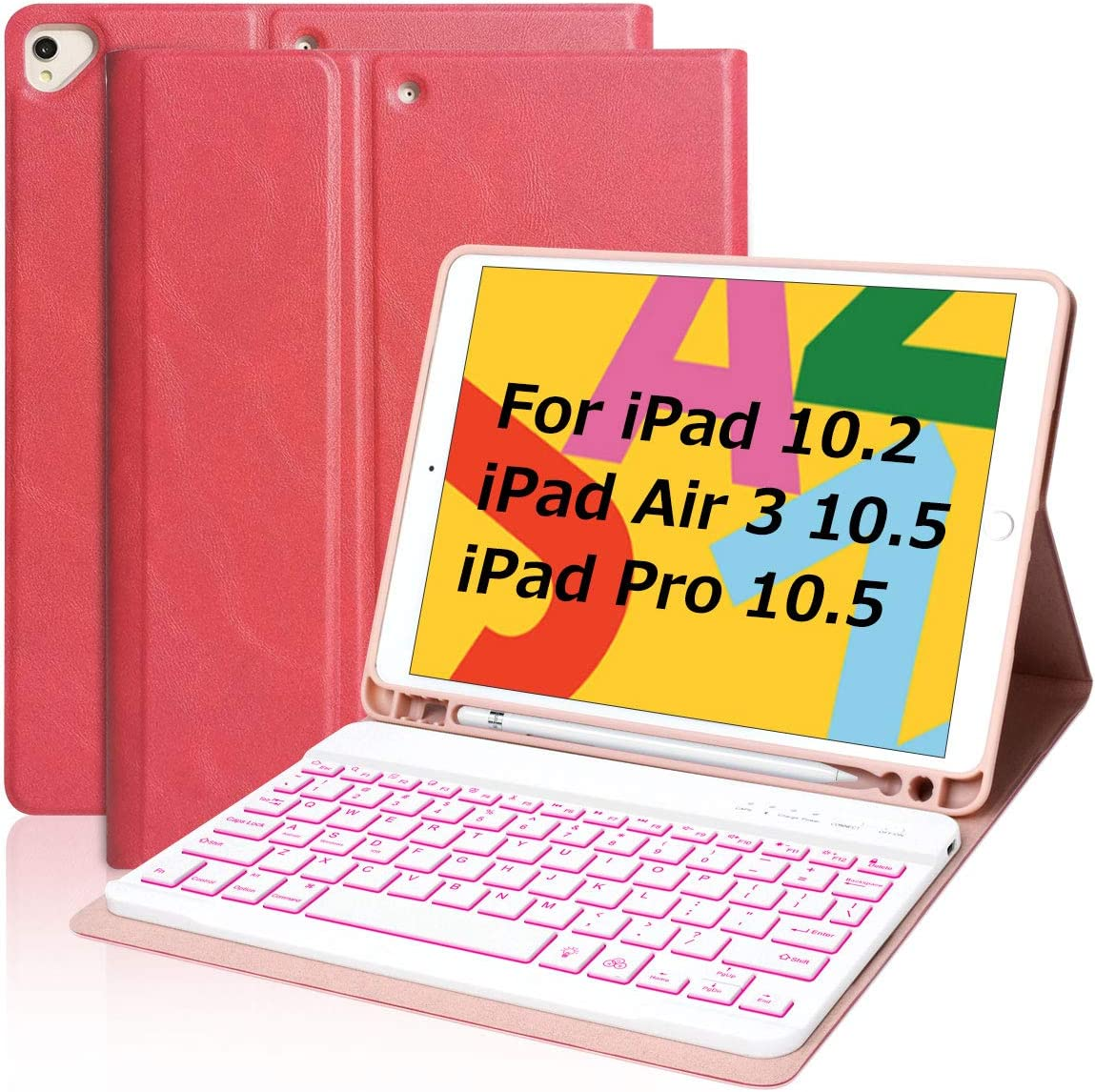 iPad Keyboard Case 10.2 Inch for iPad 8th Generation 2020, Keyboard Case for 10.5 iPad Air 3 Pro 10.5in with Pencil Holder Backlit Bluetooth Keyboard and Cover for iPad 10.2/10.5, Red