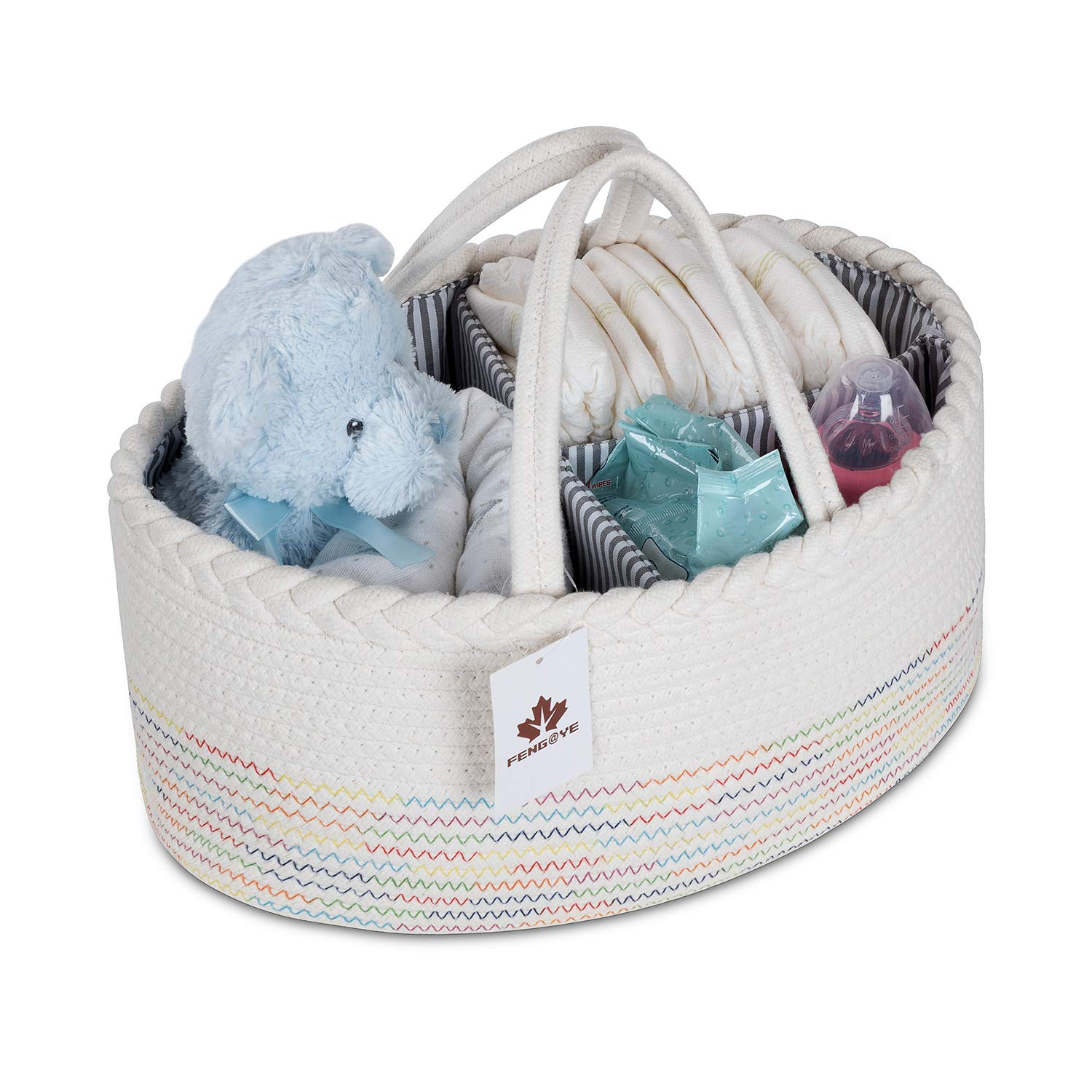 Large Baby Diaper Caddy Organizer-Woven Cotton Rope Basket Rainbow Nursery Storage Bin Portable for Changing Table/Car Travel Bag Tote-Newborn Registry Must Have-Baby Shower Gift Basket for Boy Girl