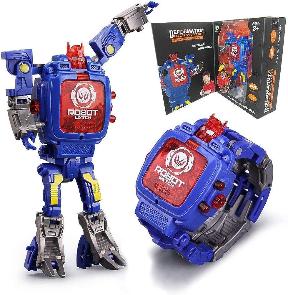 Juguete Reloj Transformers Juguetes Niños 2 en 1 Transformadores electrónicos Juguetes Reloj Robot deformado Transformación Manual Robot Juguetes Regalo para niños de 3 a 6 años (Azul)