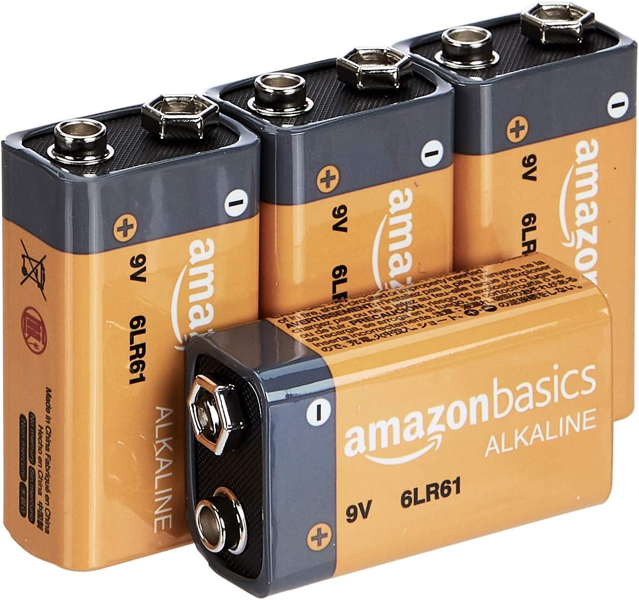 AmazonBasics - Pilas alcalinas de 9 voltios, gama Everyday, paquete de 4 (el aspecto puede variar)