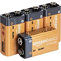 Amazon Basics 4 Pack 9 Volt Performance All-Purpose Alkaline Batteries, 5-Year Shelf Life