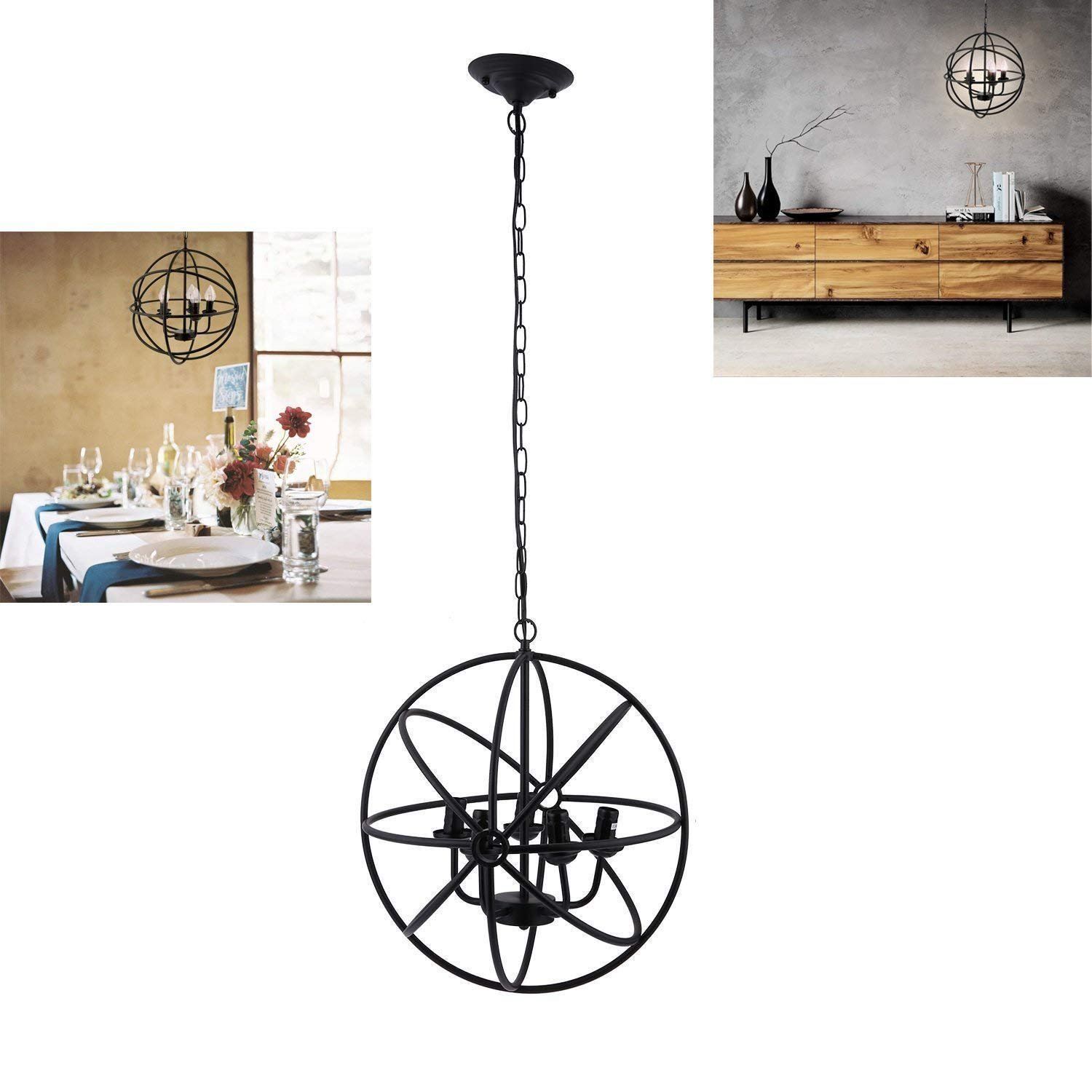 Hindom Industrial Vintage Lighting Ceiling Chandelier 5 Lights Metal Hanging Fixture, Black Rustic Retro Globe Style Indoor Chandelier Finish,Oil Rubbed Bronze with Highlights