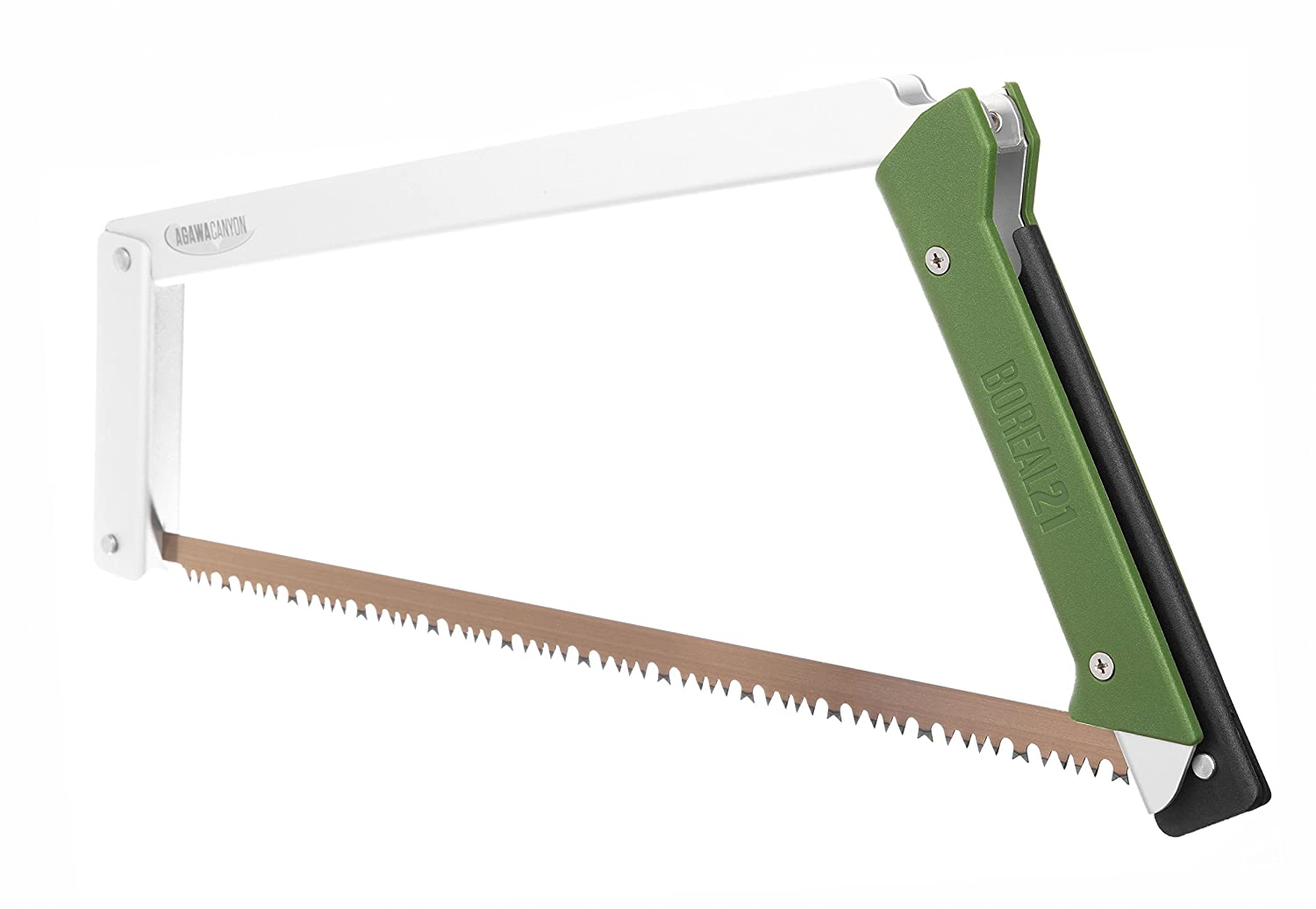 Agawa Canyon – BOREAL21 Folding Bow Saw – Clear Frame, Green Handle, All-Purpose Blade