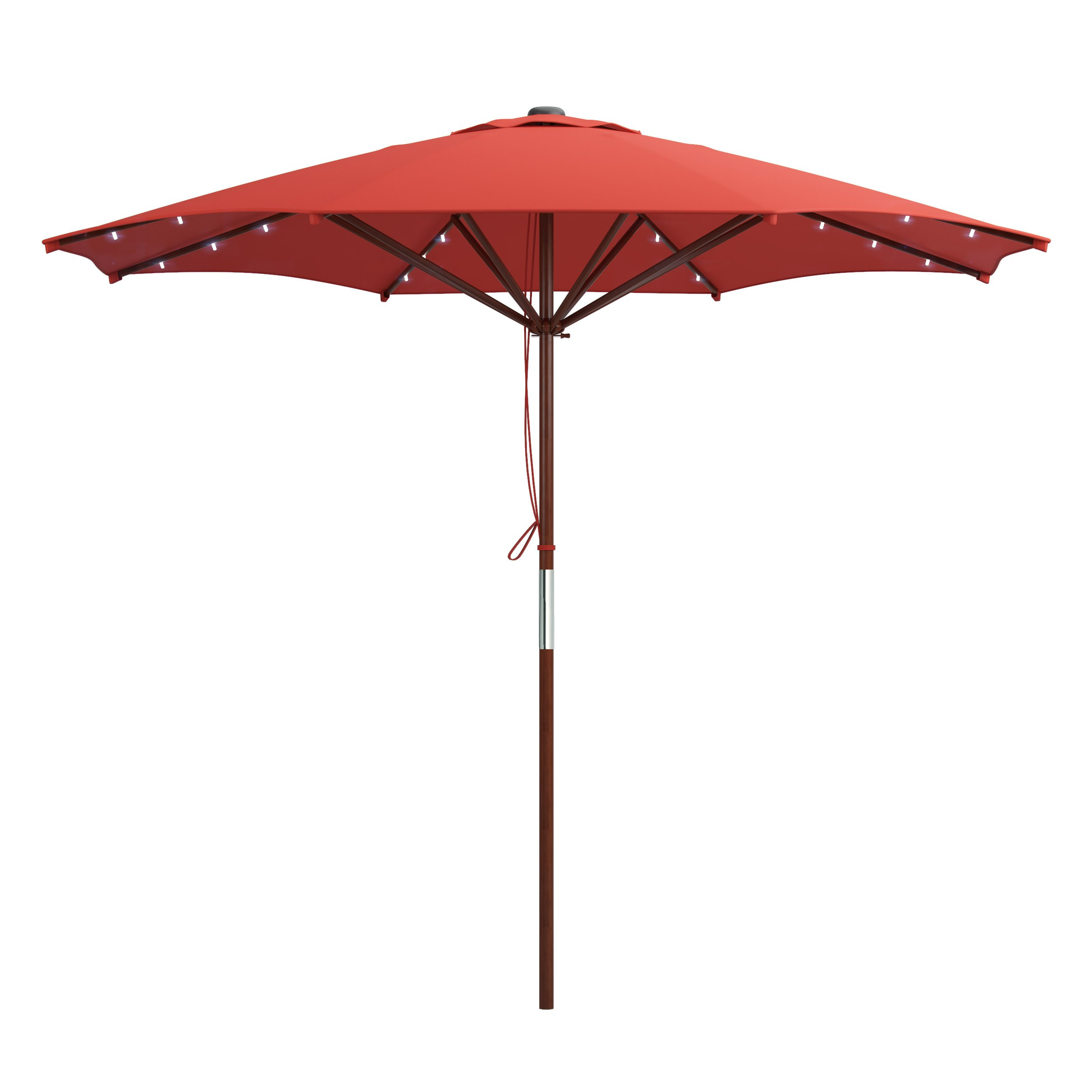 CorLiving PZT-754-U Patio Umbrella with Solar Power LED Lights, Red