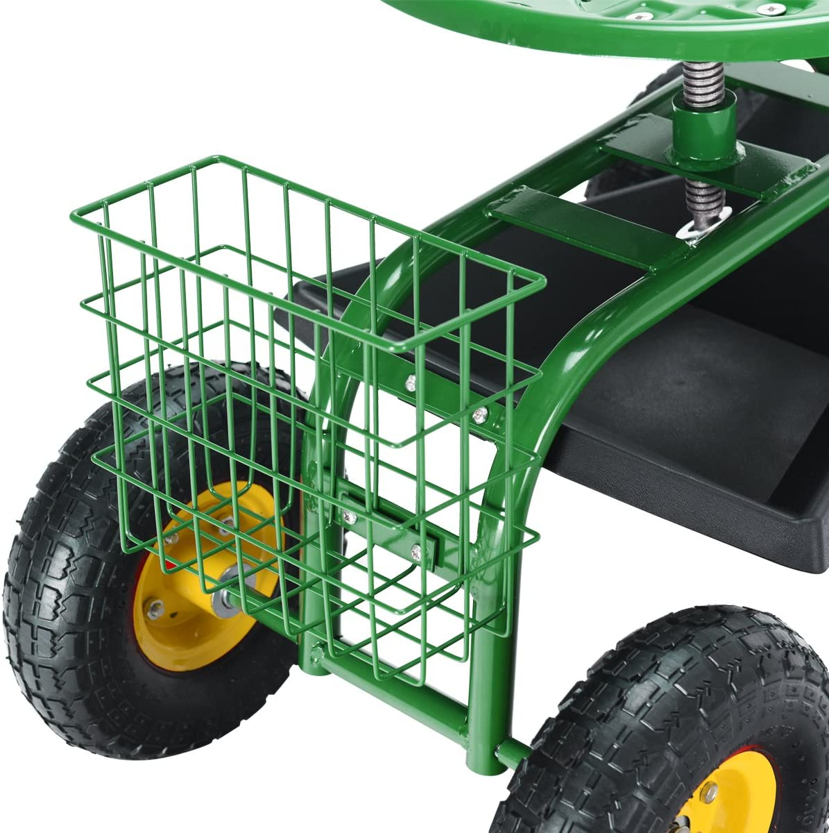 Adjustable 360 Degree Swivel Seat w//Tool Tray Green Goplus Garden Cart Rolling Work Seat Outdoor Lawn Yard Patio Wagon Scooter for Planting Basket