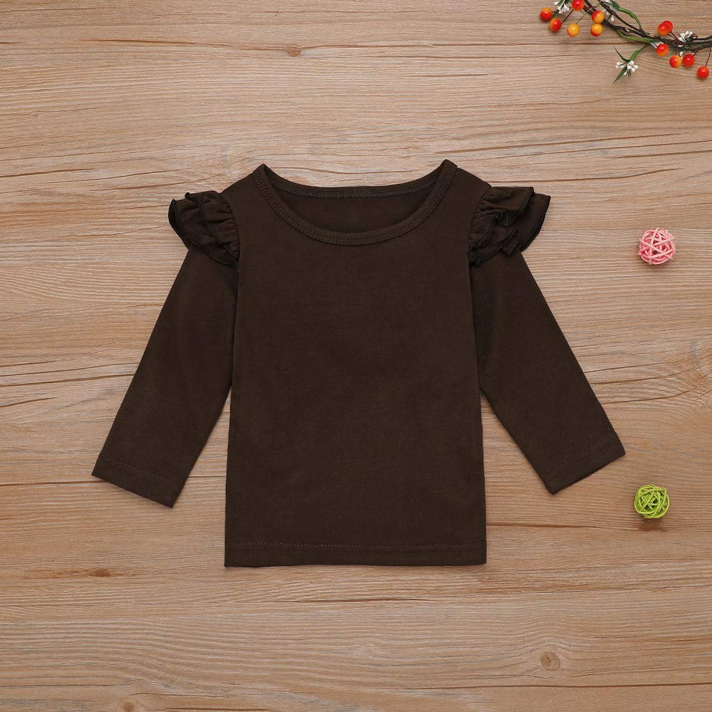 Tomppy Toddler Baby Girls Clothes Outfits Long Sleeve Tops Thanksgiveing Day Turkey Dot Print Suspender Skirt Kids Costume