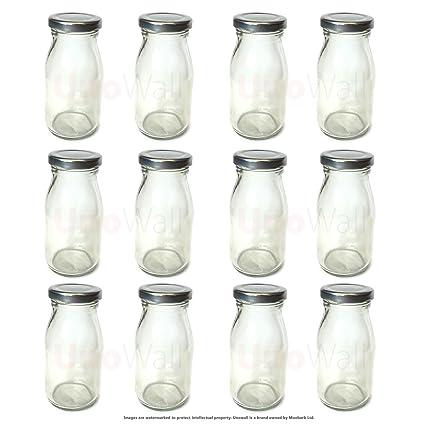 Juego de 12 Mini Classic de cristal botellas de cierre de plateado tapa - Funky,