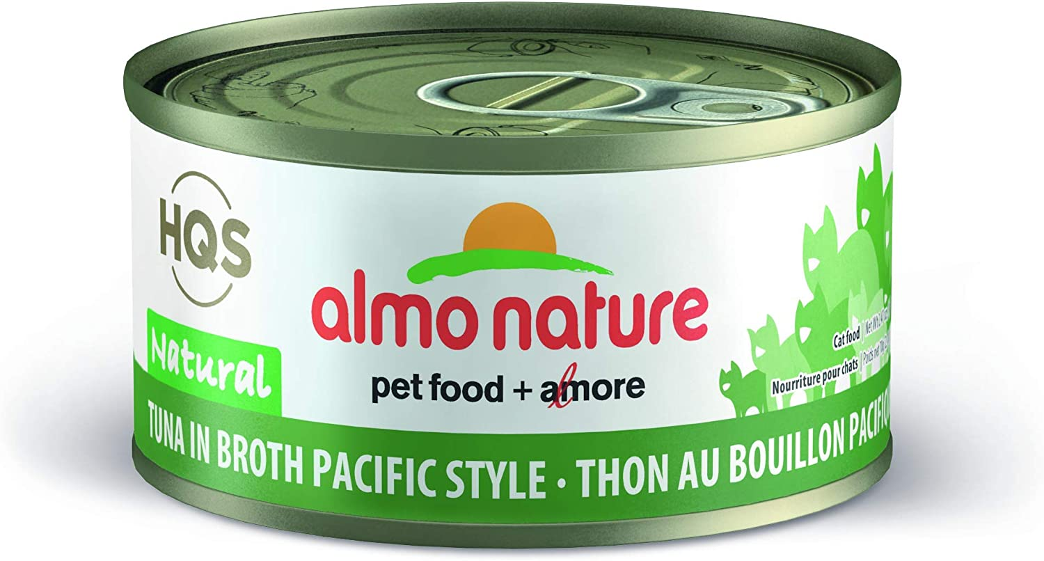 Almo Nature HQS Natural Tuna in broth Pacific style Grain Free Wet Canned Cat Food (24 Pack of 2.47 oz/70g cans)