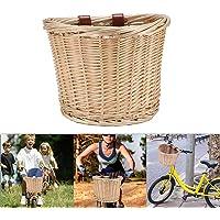 Vintage Accesorios para Bicicletas Cesta para Bicicleta Cesta De Mimbre para Bicicleta con Asa Delantera con Correa De Cuero Bicicletas para Ni/ños Y Ni/ñas Artesan/ía Popular Hecha A Mano