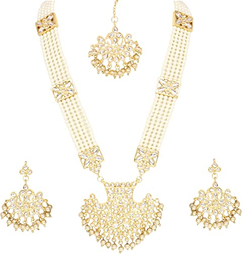 Amazon Com Indian Bollywood Traditional Wedding Long Kundan Pearl