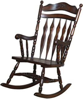 Coaster Home Furnishings Traditional Nostalgia Arrowback Turned Leg Rocking  Chair With Hand Carved Details   Walnut