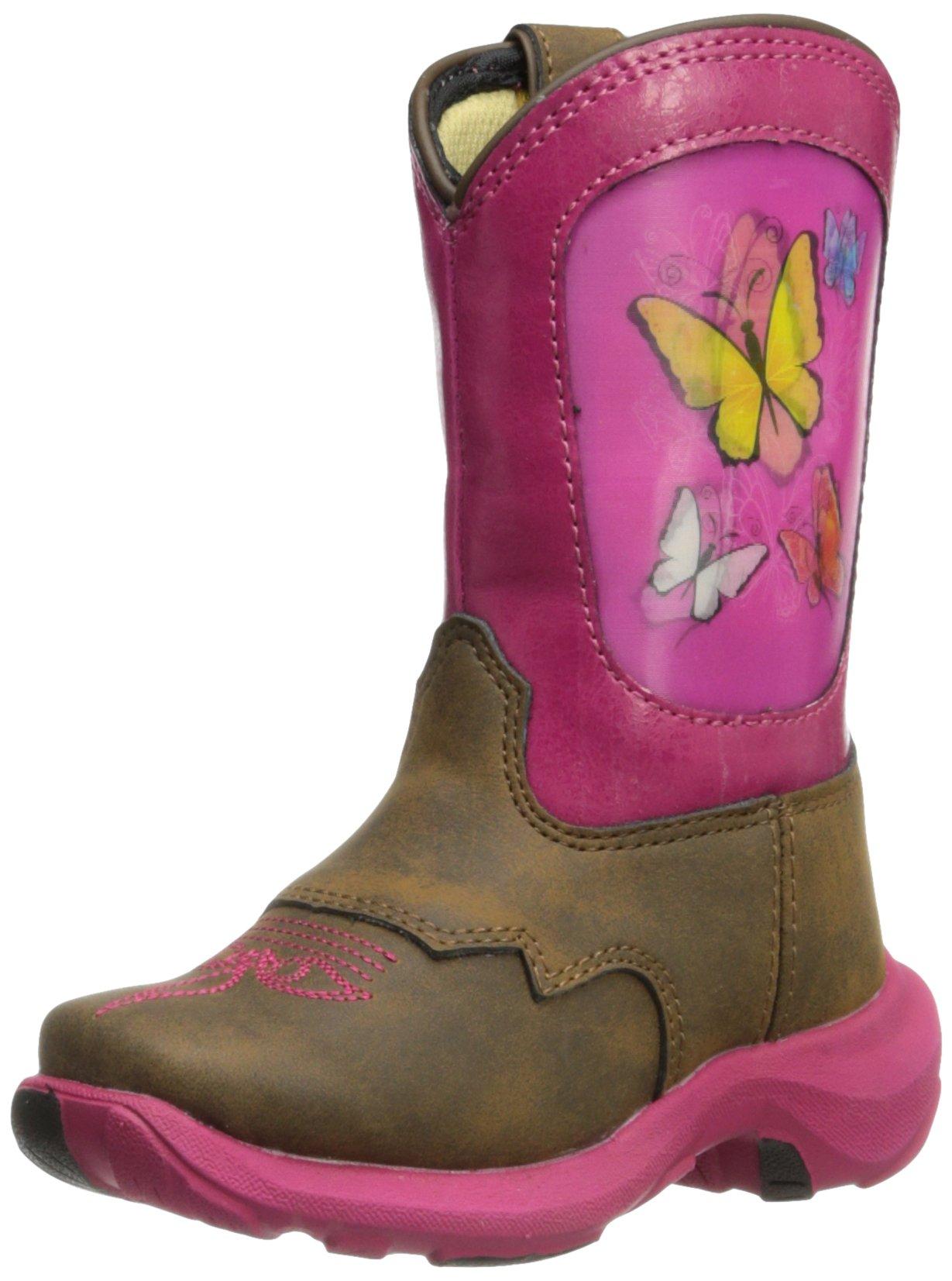 Durango Kids Baby Girl's Lil 8'' Take Flight (Toddler) Light Brown/Hot Pink Boot 6 Toddler M
