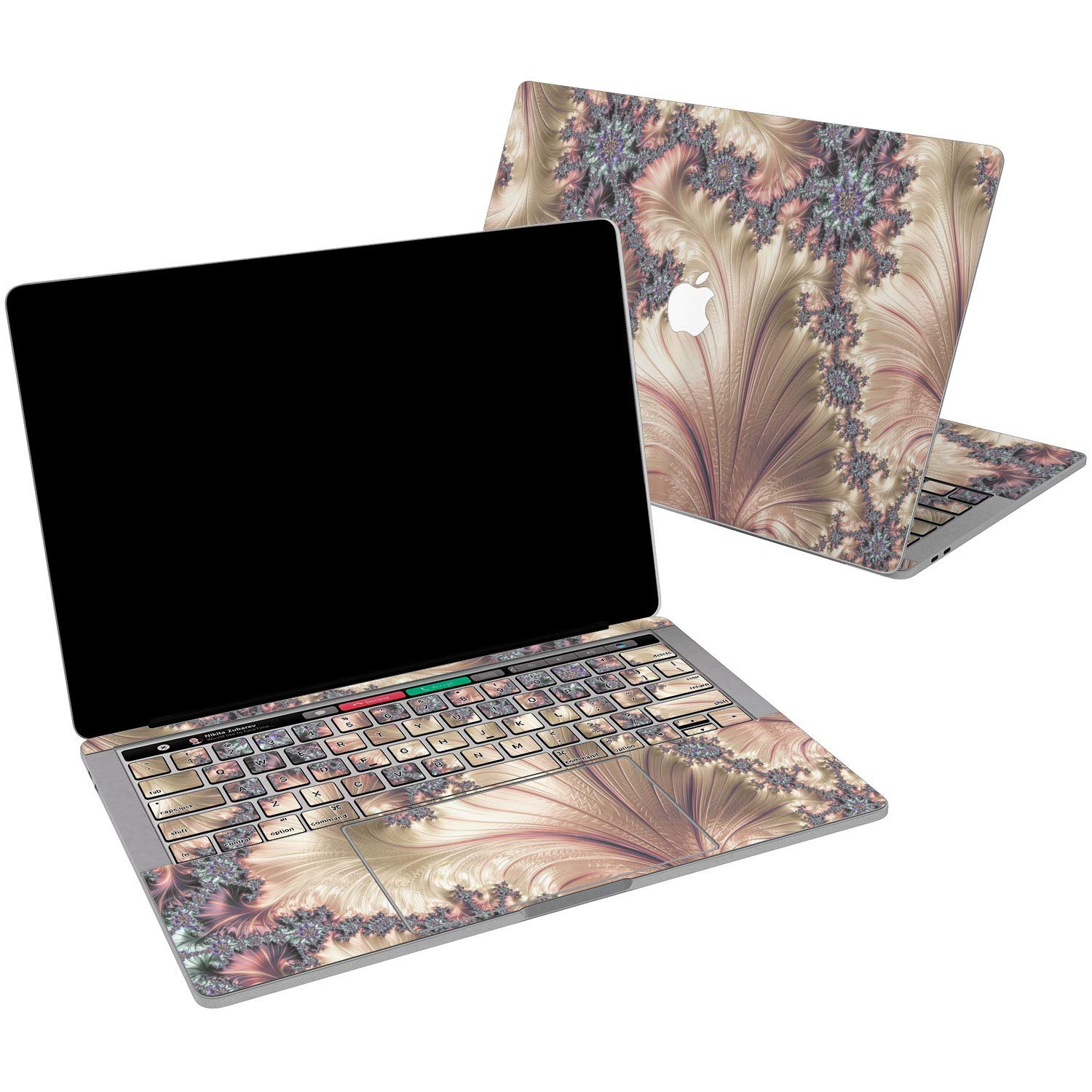 Lex Altern Vinyl Skin for MacBook Air 13 inch Mac Pro 15 Retina 12 11 2019 2018 2017 2016 2015 Rose Gold Fractal Abstract Pearl Paint Art Luxury Keyboard Decal Sticker Designed Wrap Laptop Trackpad