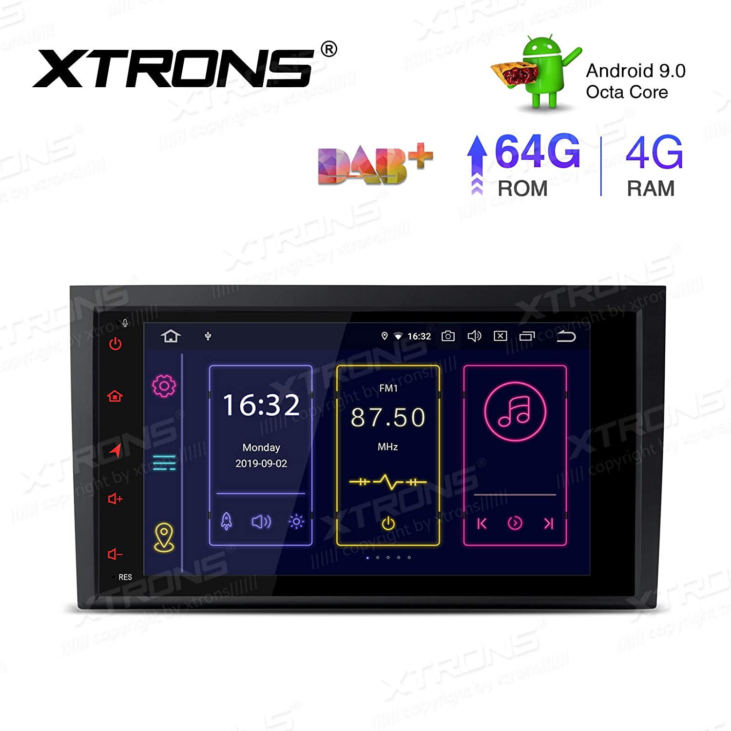 XTRONS 8 Inch Android 9.0 Car Stereo Radio Player Octa Core 4G RAM 64G ROM GPS Navigation Multi-Touch Screen Video Player Head Unit Supports Bluetooth 5.0 WiFi OBD2 DVR TPMS Backup Camera for Audi A4