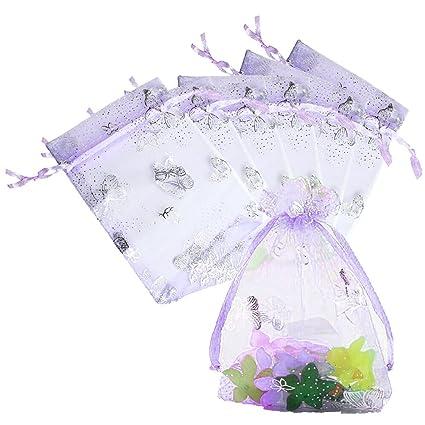 Amazon.com  Pengxiaomei Organza Gift Bags, 100pcs Drawstring Jewelry ... 5836d8bf5d