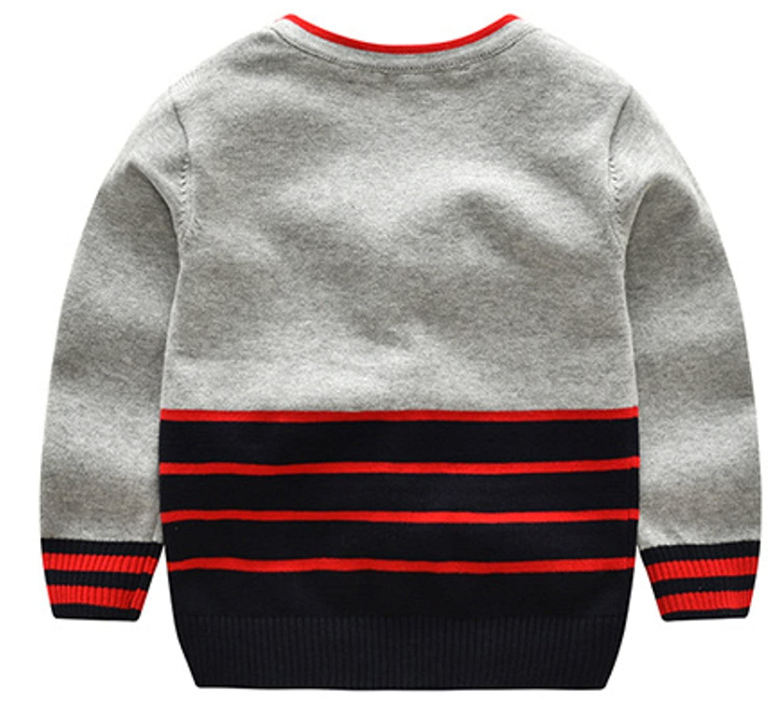 AUIE SAOSA Boys Fashion Sweater in Autumn and Winter Stripe V-Neck