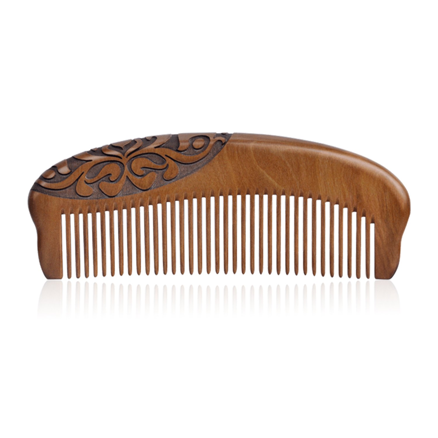 Yumary Fine Tooth Detangling Hairbrush Mahogany Handmade Comb With Anti Static Natural Aroma Wood Comb Eco-Friendly Flavour Traditional Chinese Sculpture Art Carvings By Gift Packaging
