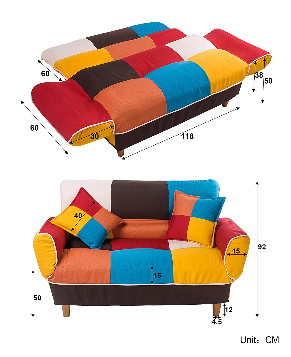 amazon    merax young series sofa futon sofa loveseat sleeper modern contemporary upholstered quality sofa with two pillows cotton linen fabric  home  u0026     amazon    merax young series sofa futon sofa loveseat sleeper      rh   amazon