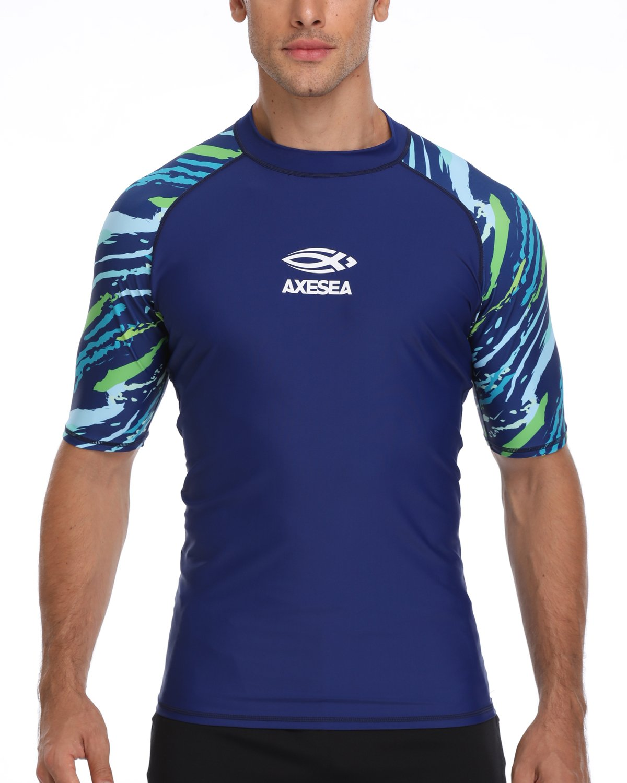 AXESEA Men's Short Sleeve Solid Sun Protection Rashguard Swim Shirt UPF 50+ (M, Blue) by AXESEA