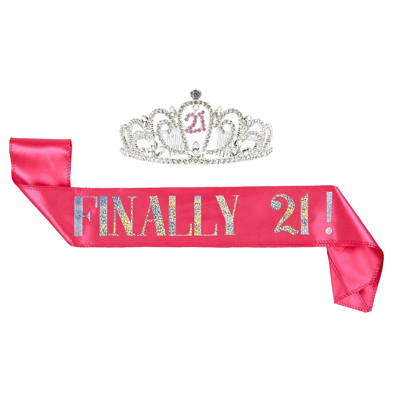 Juvale 2-Pack Set of Birthday Girl Tiara and Birthday Sash - Rhinestone Crown with Finally 21!'' Polyester Sash Decoration for 21st Birthday Celebrations, Pink by Juvale