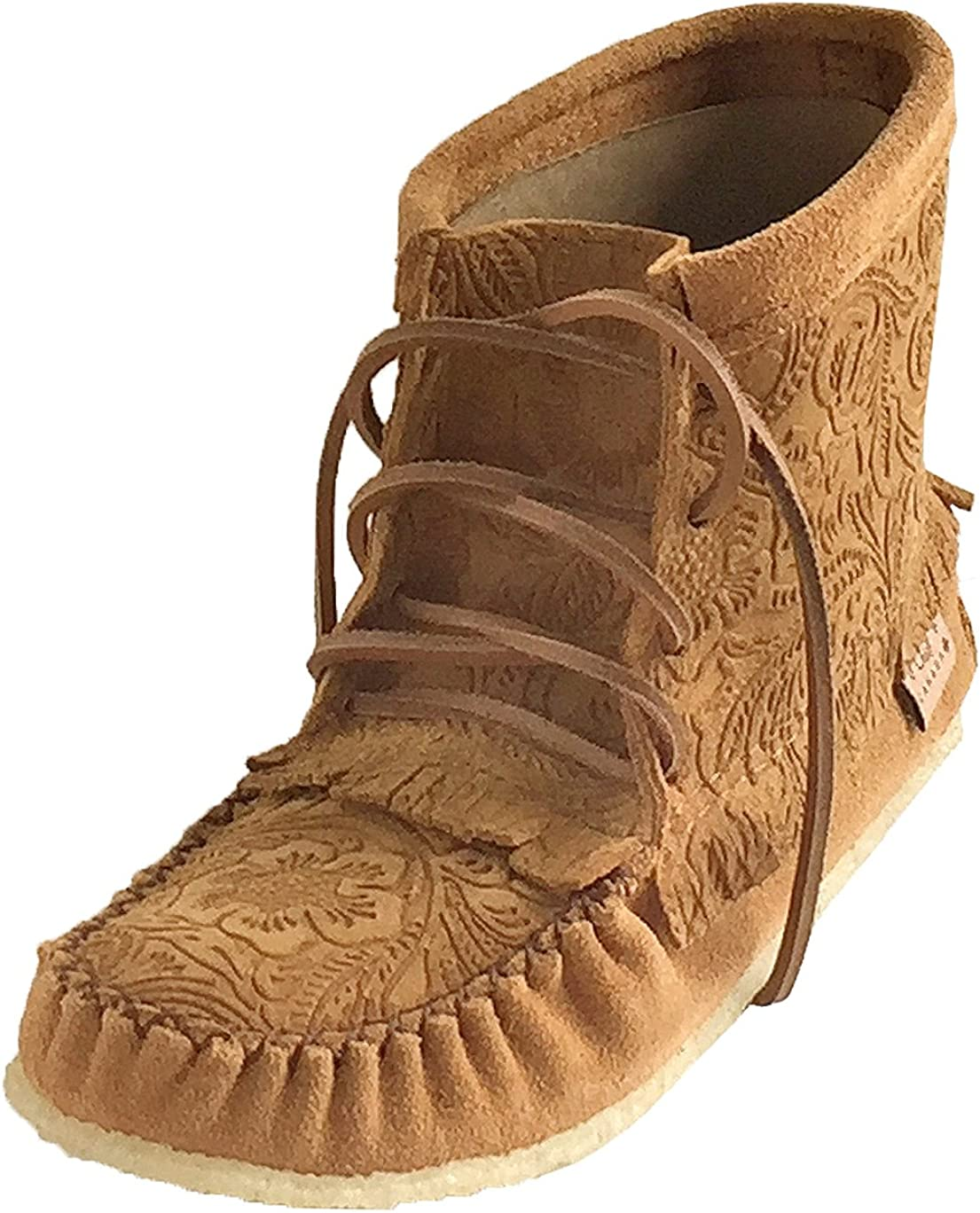 Laurentian Chief Women's Imperiale Floral Embossed Moccasin Shoes Lace Up Ankle Boots