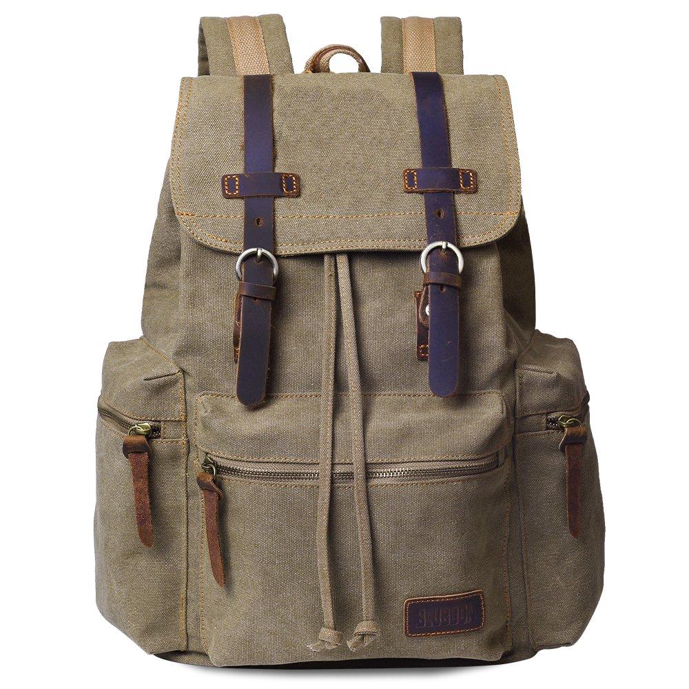 209acc8ed0b6 Amazon.com  Canvas Vintage Backpack Men Rucksack Bookbag Leather (Brown)   Sports   Outdoors