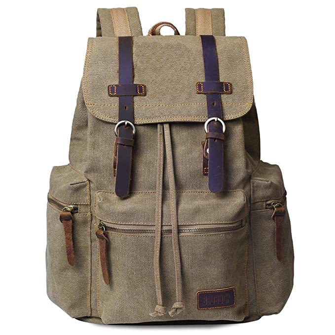 fdac072b79ec Amazon.com  Canvas Vintage Backpack Men Rucksack Bookbag Leather ...