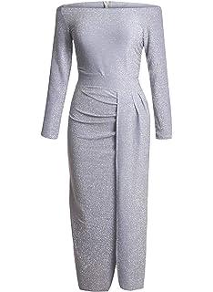 86b4eece16a FIYOTE Robe Femme Maxi Épaule Dénudée 3 4 Manches Robe Soirée Couleur Unie  S-