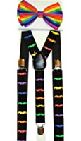 Unisex Rainbow Mustache Suspenders/bow Tie Set - Adjustable