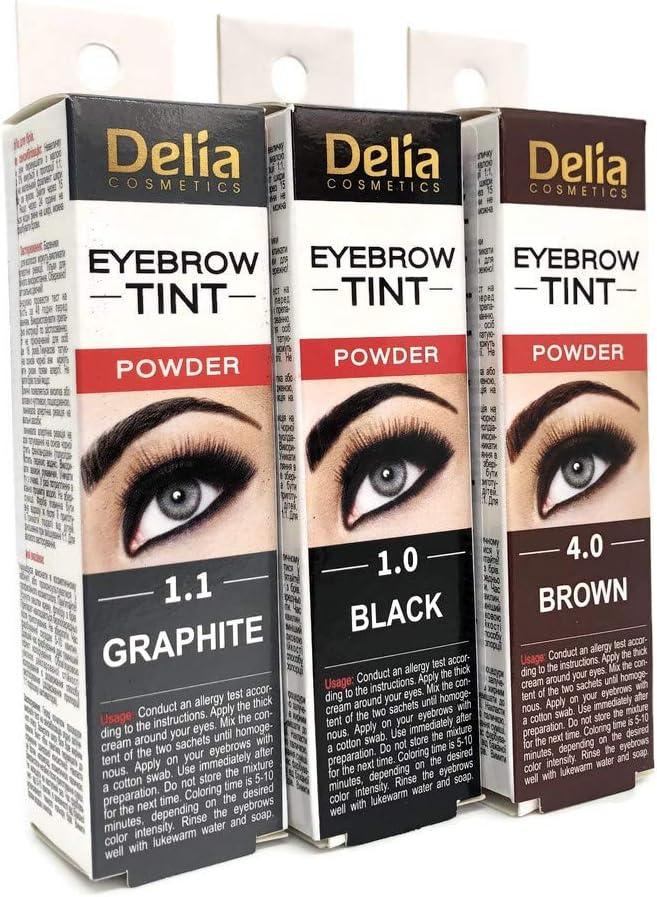 Tinte profesionales para cejas y pestañas profesionales, 20ml KIT Delia Negro/Marrón/Marrón Oscuro 15 Aplicaciones (Dark Brown)