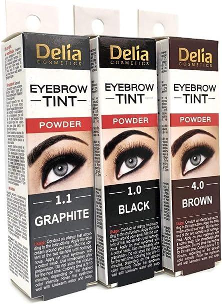Tinte profesionales para cejas y pestañas profesionales, 20ml KIT Delia Negro/Marrón/Marrón Oscuro 15 Aplicaciones (Brown)