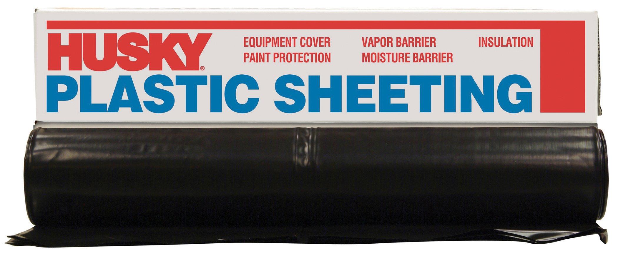 Husky CF0420-50B 4 ML Polyethylene Plastic Sheeting, 20' x 50', Black by Husky