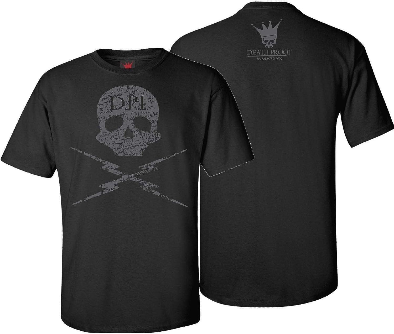 B07JNPXN2G Death Proof Industries Skull Lightning Distressed T-Shirt Tee (2X-Large, Black) 61ZtD6wVDxL