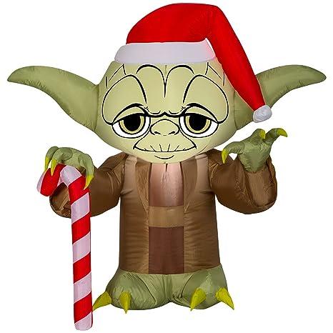 Amazon.com: Gemmy 3 Airblown Yoda w/Santa Hat Star Wars ...