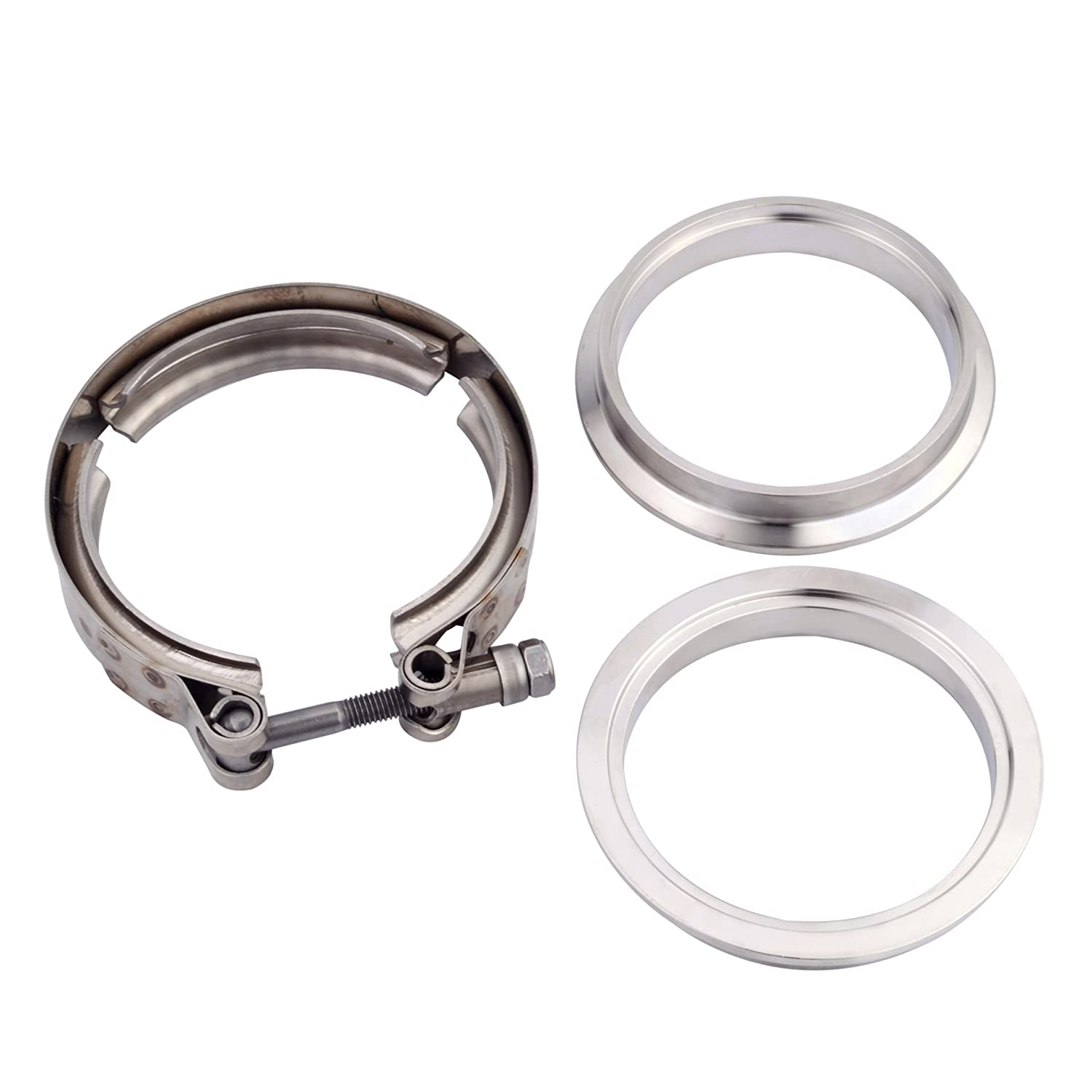 2Pcs V Band Exhaust Clamp ESPEEDER 3.0 V Band Clamp Kit with Stainless Steel Male Female Flange for Excellent Sealing Performance